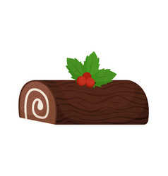 Christmas roll with cream in form a log vector