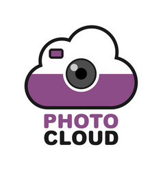 cloud camera logo photo video control icon vector image