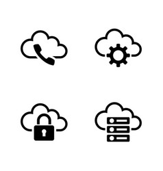 Cloud settings simple related icons vector