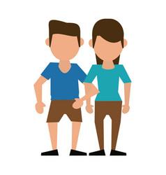 couple faceless avatar cartoon vector image