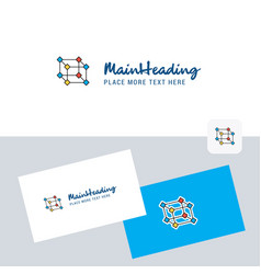 cube logotype with business card template elegant vector image