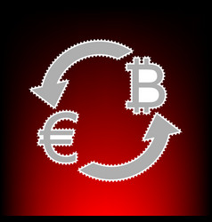 currency exchange sign euro and bitkoin postage vector image