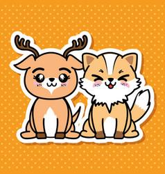 Cute and lovely animals cartoon vector