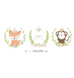 cute baby animal cartoon hand drawn style vector image