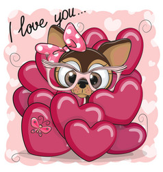 Cute cartoon puppy girl in hearts vector