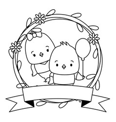 cute couple chicks animals wreath flowers vector image