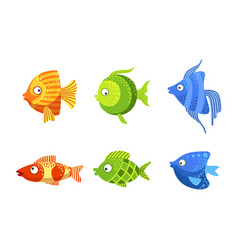 cute fish set colorful stylized marine or vector image