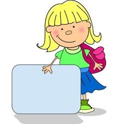 Cute school girl holding a sign vector