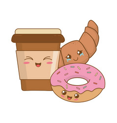 delicious sweet donuts and coffee kawaii vector image