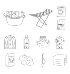 dry cleaning equipment outline icons in set vector image