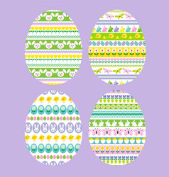 easter eggs with stripe patterns vector image