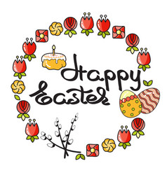Easter icon and handwritten word happy easter o vector