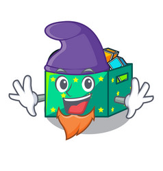 elf character wooden box of kids toys vector image