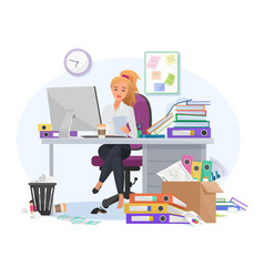Exhausted overwhelmed work young female vector