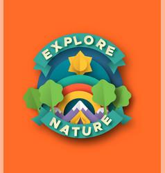Explore nature papercut design camping tent vector