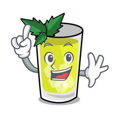 Finger mint julep mascot cartoon vector