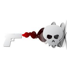 firing gun with smoke and skull paper vector image