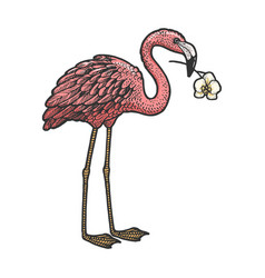 Flamingo with orchid in a beak sketch vector