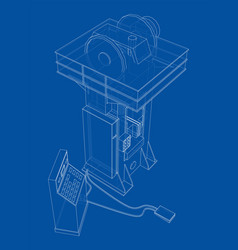 Friction screw press concept outline vector