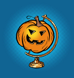 globe international pumpkin halloween creepy face vector image