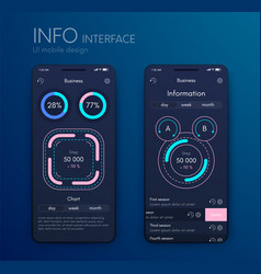 graphics mobile infographics with three and vector image