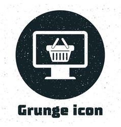 Grunge computer monitor with shopping basket icon vector