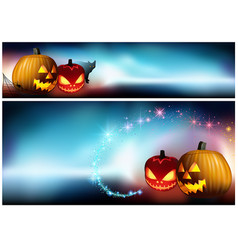 Halloween pumpkins and a spooky fog vector