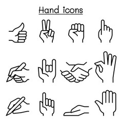 hand icon set in thin line style vector image