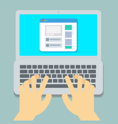 hands typing on laptop vector image