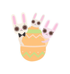 happy family bunnies with easter egg father vector image
