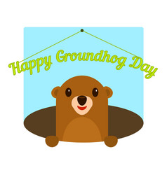 happy groundhog day icon flat style vector image