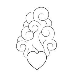 Heart with smoke lineart vector