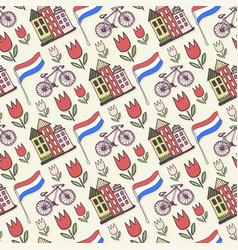 holland doodles background netherlands seamless vector image