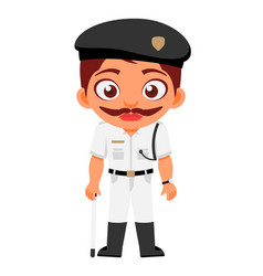 indian man traffic police constable indian police vector image