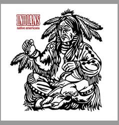 Indian shaman in ethnic costum native american vector