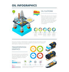 infographics oil industry production theme vector image
