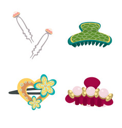 Isolated object barrette and hair symbol set vector
