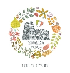 Italy Rome landmark setAutumn leaves wreath vector
