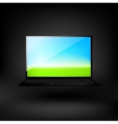 Laptop and green arrow vector