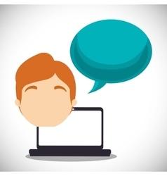 Laptop guy bubble speech talk vector