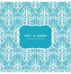 light blue swirls damask frame seamless vector image