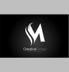 M letter design brush paint stroke on black vector
