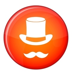 Magic black hat and mustache icon flat style vector