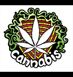 Marijuana cannabis leaf symbol design stamp vector image