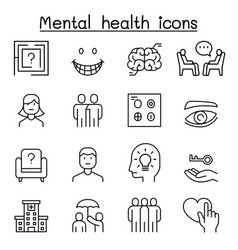 Mental health icon set in thin line style vector