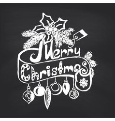 Merry Christmas on blackboard background vector image