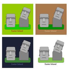 Moai monolithic statues polynesia easter islands vector