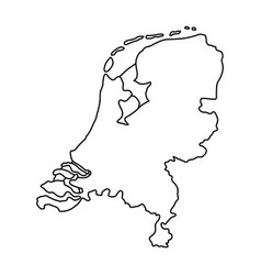 Netherlands map of black contour curves of vector