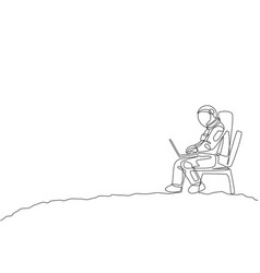 One single line drawing cosmonaut sitting vector