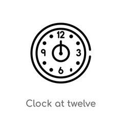 Outline clock at twelve oclock icon isolated vector